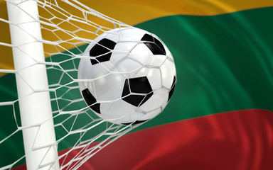 Flag of Lithuania and soccer ball in goal net