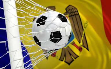 Flag of Moldova and soccer ball in goal net