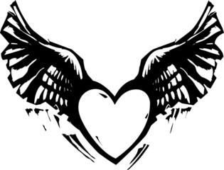 Winged Heart Black White