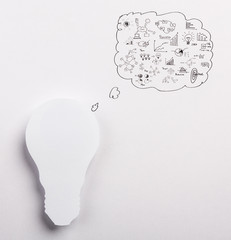 Paper Light bulb with drawing graph