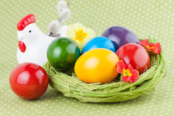 Easter Eggs decorated on a Green Polka Dot Napkin