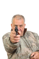 Man pointing gun at viewer