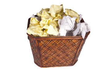 Trash can full of paper isolated over white