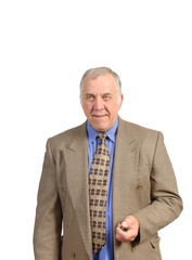 Smiling older businessman in a sportscoat and tie over a white background