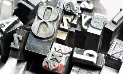 Metal Type Printing Press Typeset Obsolete Typography Text