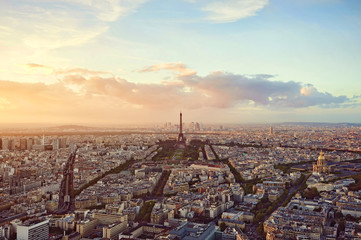 Paris - panoramic view of the Eiffel Tower