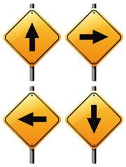 Four arrow signs