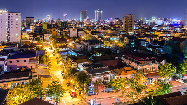 Phnom Penh at night cityscape