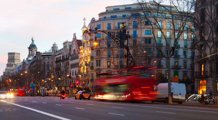 Evening view of Passeig de Gracia in  Barcelona, Spain