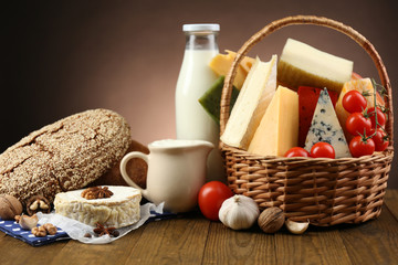 Basket with tasty dairy products