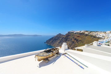 Greece Santorini island panoramic view of the sea, above oia in