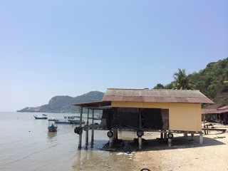 Fisherman hut by the beach