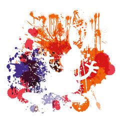 Farbklekse,Schattenriss Osterhase,Hintergrund,Vektor