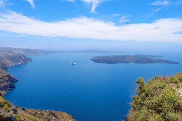 Greece Santorini island wide angle seascape view of colorful sea
