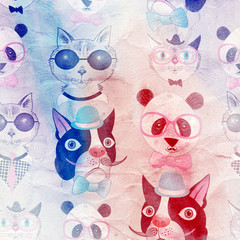 pattern of retro hipster animal portraits
