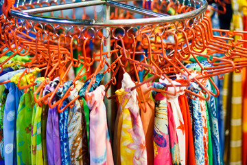 image of Colorful Textile BackgroundPile of bright folded clothe