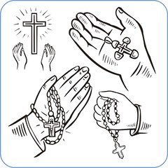 Hands and crosses, crucifixion - vector illustration.