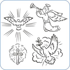 Angels and doves - vector illustration.