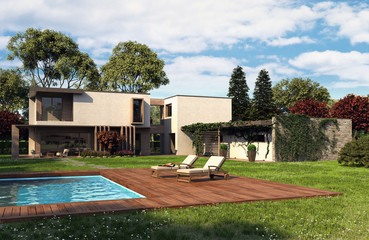 wooden house with swimming pool