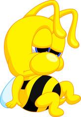 Sad cartoon bee