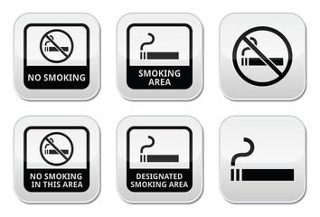 No smoking, smoking area vector buttons set