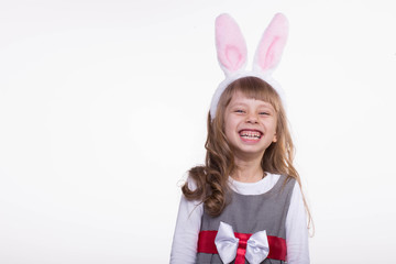 Funny girl with rabbit ears.