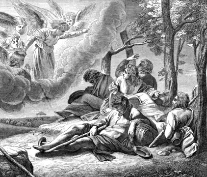 annunciation to the shepherds of  the birth of Jesus Christ,