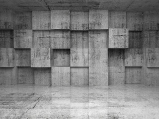 Fototapete - Abstract empty concrete interior with cubes on the wall