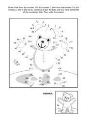Dot-to-dot and coloring page - teddy bear