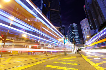 Fast moving car light in Hong Kong at night