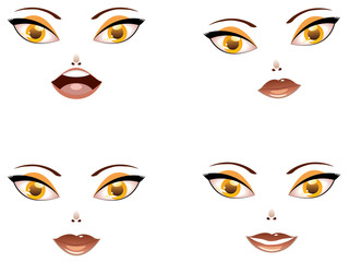 Toon female face with yellow eyes
