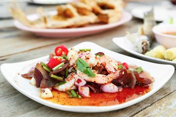 Spicy Thai salad and shrimp