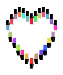 Multicolored bottles of nail polish in the form of heart. Isolat