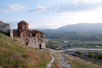 St. Mary of Blachernae Church, Berat, Albania, with countryside