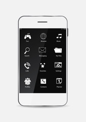 White Mobile Phone with Icons on the Screen. Vector Illustration