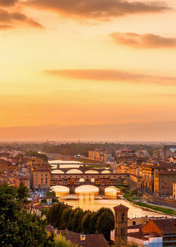 Golden sunset over the river Arno, Florence, Italy