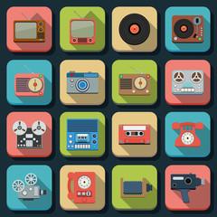 Retro electronic flat vector icons