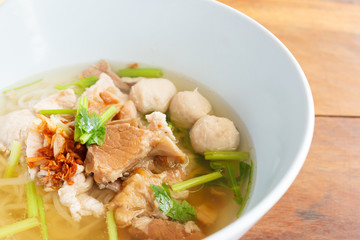 rice noodles soup with pork