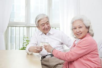 .Senior couple toasting for anniversary.