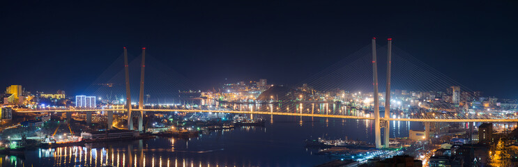 High resolution image of Zolotoy Bridge in Vladivostok, night.