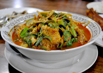 Thai food - Spicy Curry Soup with herbs