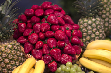 Strawberries with tropical fruits