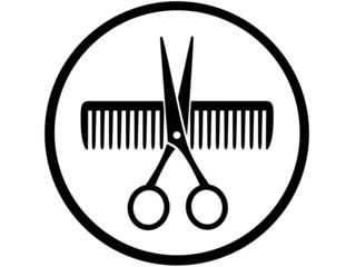 round sign with scissors and comb