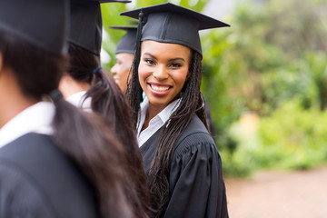african university graduate looking back