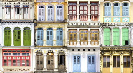 Fototapete - Collage of the unique windows. Georgetown, Malaysia