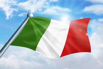 Italian flag waving against the cloud background