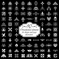 90 Ornamental elements - Isolated On Black Background