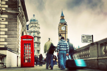 Wall Mural - Red telephone booth and Big Ben in London, England, the UK.