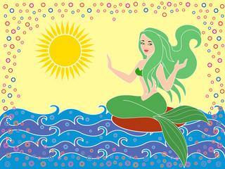 Mermaid on the sea waves