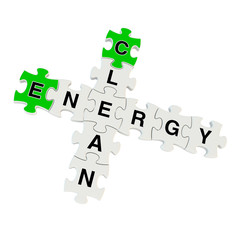 Clean energy 3d puzzle on white background
